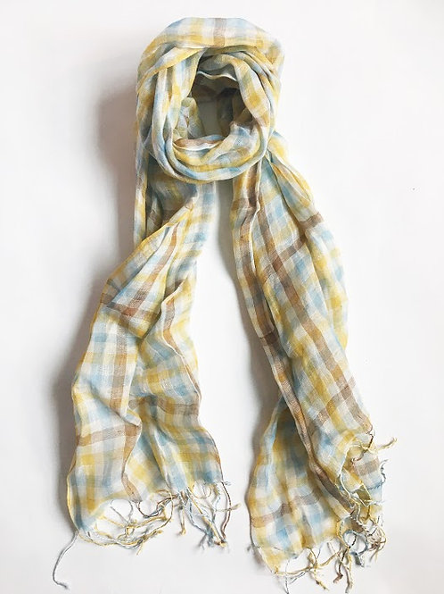 yellow gingham plaid linen blend fringe scarf
