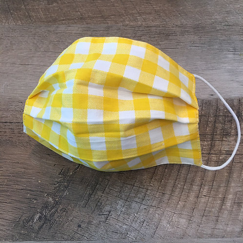 KIDS (or adult small size) YELLOW GINGHAM cloth face mask