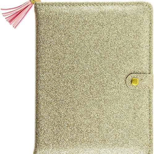 amazing gold SPARKLE snap puffy journal