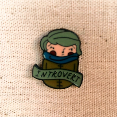 introvert enamel pin