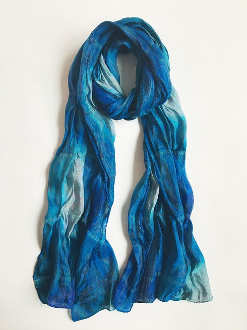 sea dreams ombre blue hand-detailed scarf
