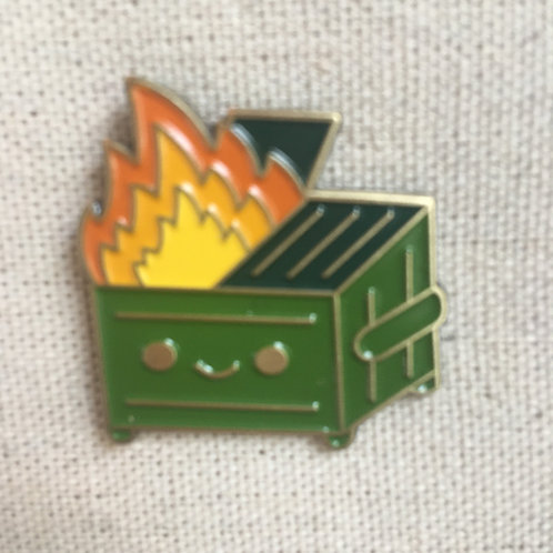 OMG! happy DUMPSTER FIRE - enamel pin