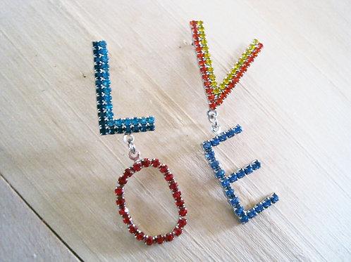 love is love rainbow rhinestone post earrings