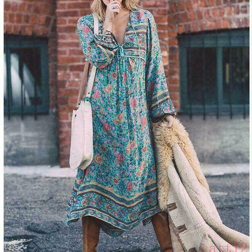 NEW floral teal vintage style kaftan hippie dress tassels S