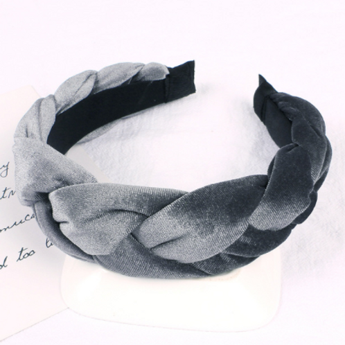 gray velvet braided headband crown