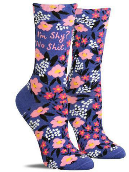 """i'm shy? no shit."" purple floral snarky socks"