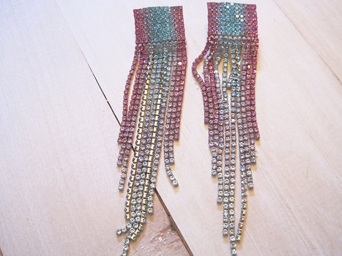 magical mermaid crystal  rhinestone rainbow earrings