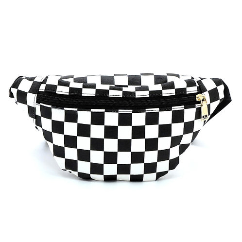 checker board plaid black & white chic fanny pack