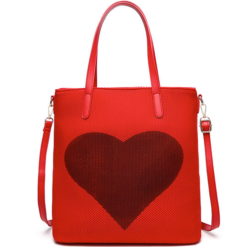 large red heart tote crossbody bag purse