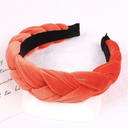 gilded coral orange velvet braided headband crown