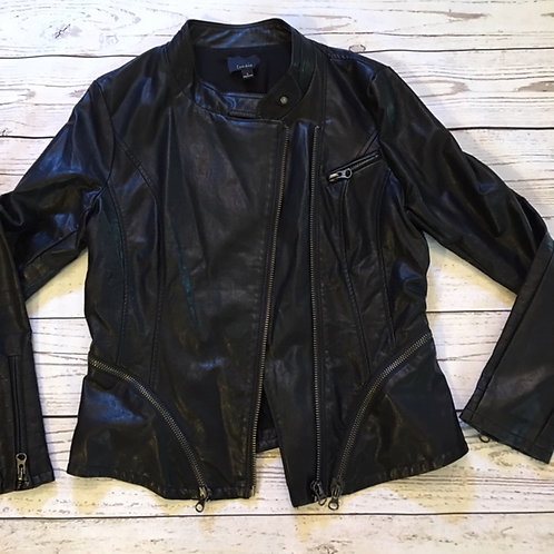 NEW! lumiere black faux leather moto jacket L