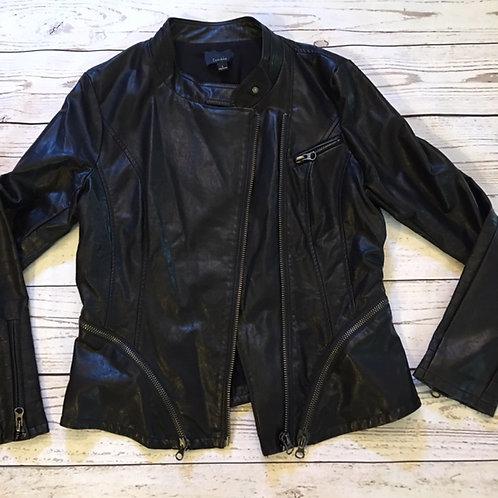 NEW! lumiere black faux leather moto jacket L