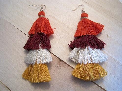 sunset tiered thread tassel earrings