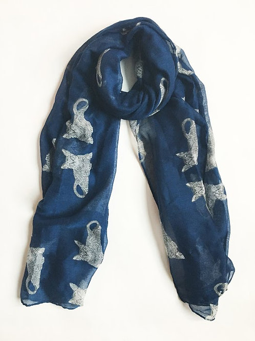 navy blue illustrated cat scarf