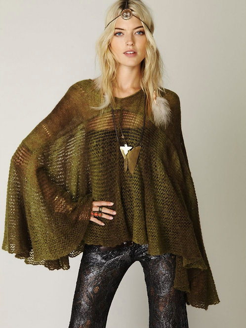 NEW! $168 free people moss green watson ombre sweater cape L