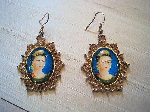 frida kahlo cameo filligree earrings
