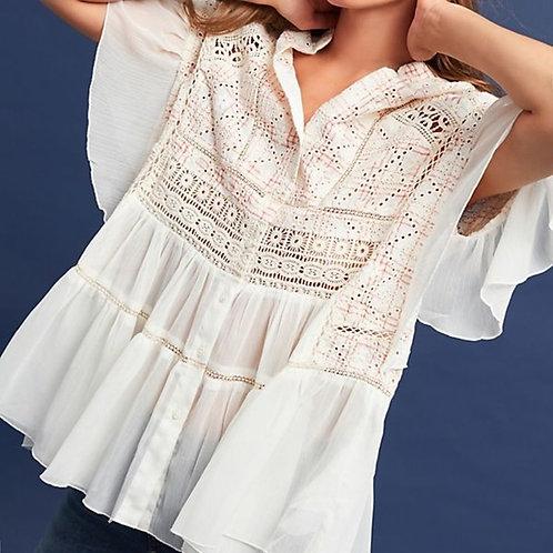 "anthropologie akemi + kin ""lindy"" embroidered blouse XL"