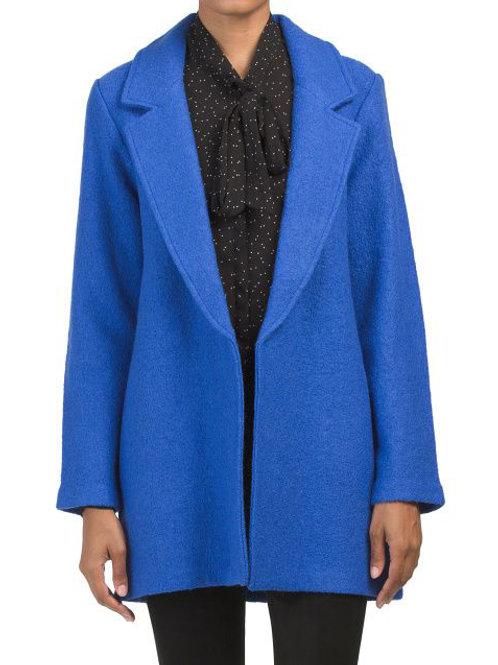 NEW! rachel zoe blue wool blend long jacket L