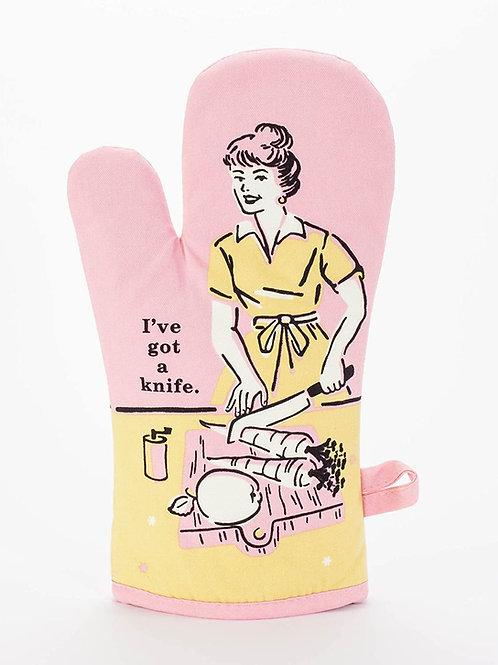 i've got a knife pink oven mitt