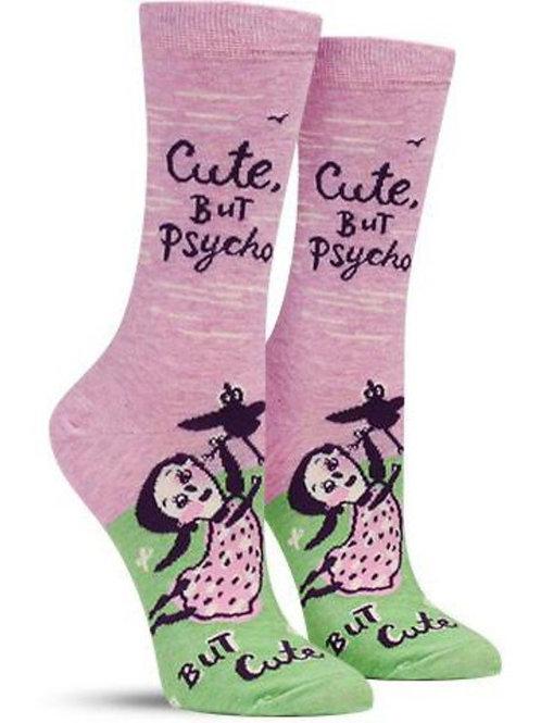"""cute but psycho..but cute"" funny snarky socks"