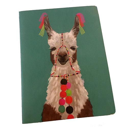 festive tassel llama teal notebook journal