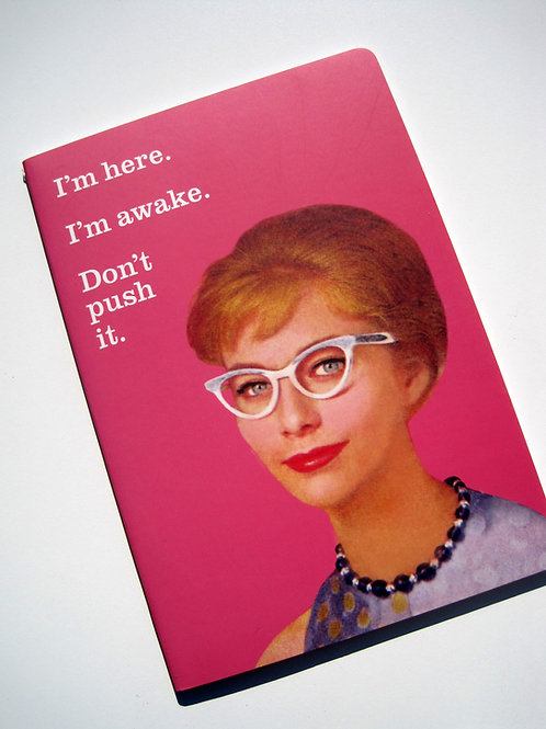 "ephemera ""i'm here. i'm awake"" funny journal / notebook"