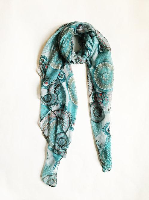 blue circle medallion print scarf