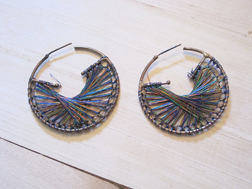 metallic threaded hoop earrings