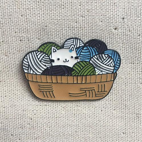 cute kitty cat yarn basket enamel pin