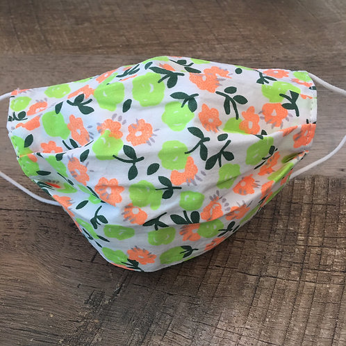 KIDS (or adult small size) PEACH FLORAL cloth face mask