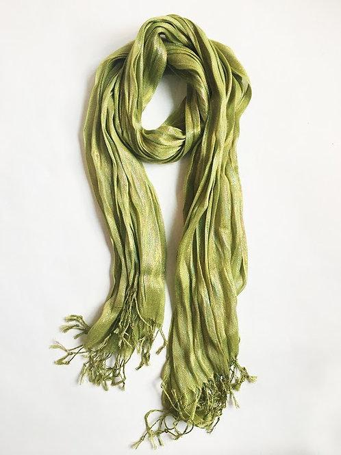 chartreuse glimmer fringe scarf