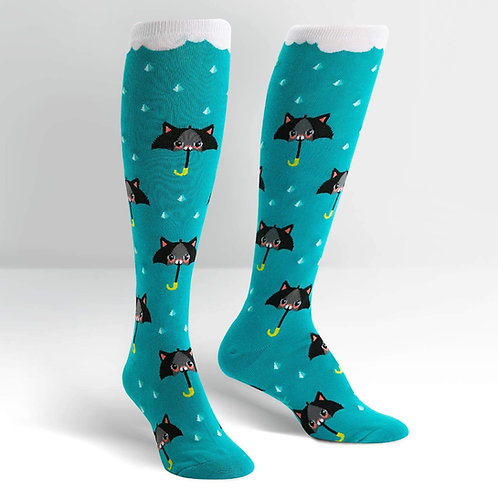 teal cat umbrella rainy day knee socks
