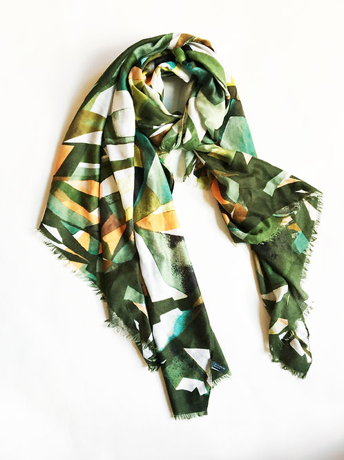 classy abstract palm tropical print scarf