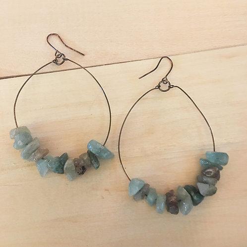 handmade natural stone aquamarine hoop earrings