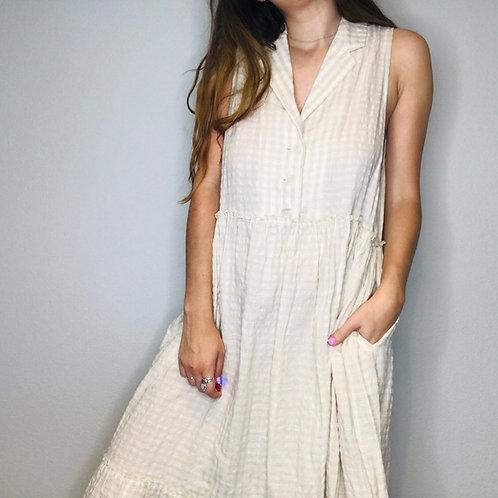NEW! $148 free people tan plaid linen maxi dress L