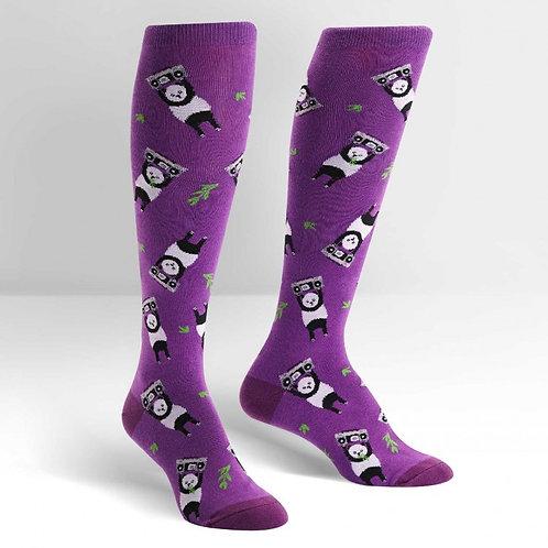 purple say anything panda boom box knee socks