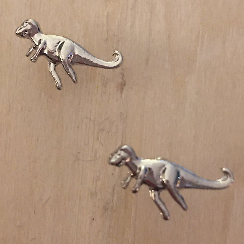 dino-might! silver t-rex dinosaur post earrings