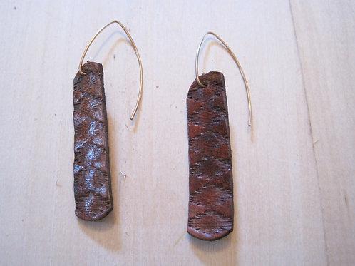 boho handmade leather embossed earrings
