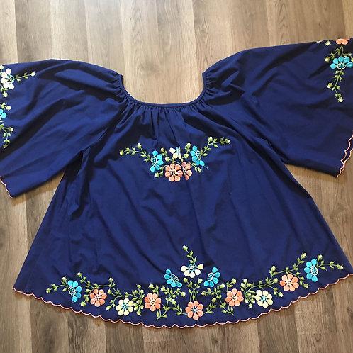 vintage blue embroidered huge sleeved peasant blouse L