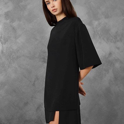BLACK GEOMETRIC KIMONO DRESS