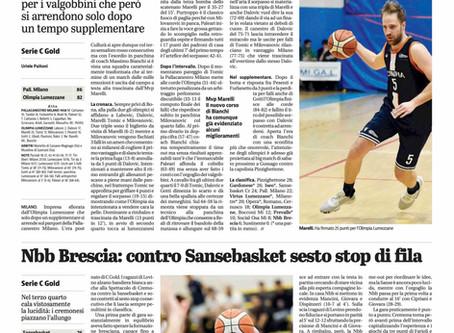 Nbb Brescia: contro Sansebasket sesto stop di fila