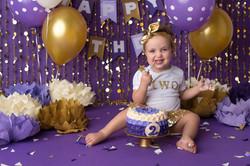 toddler cake smash purple and gold