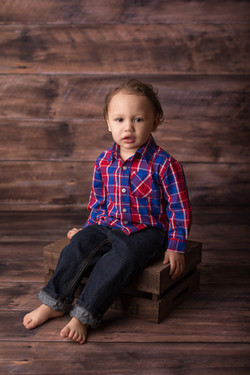 toddler in plaid