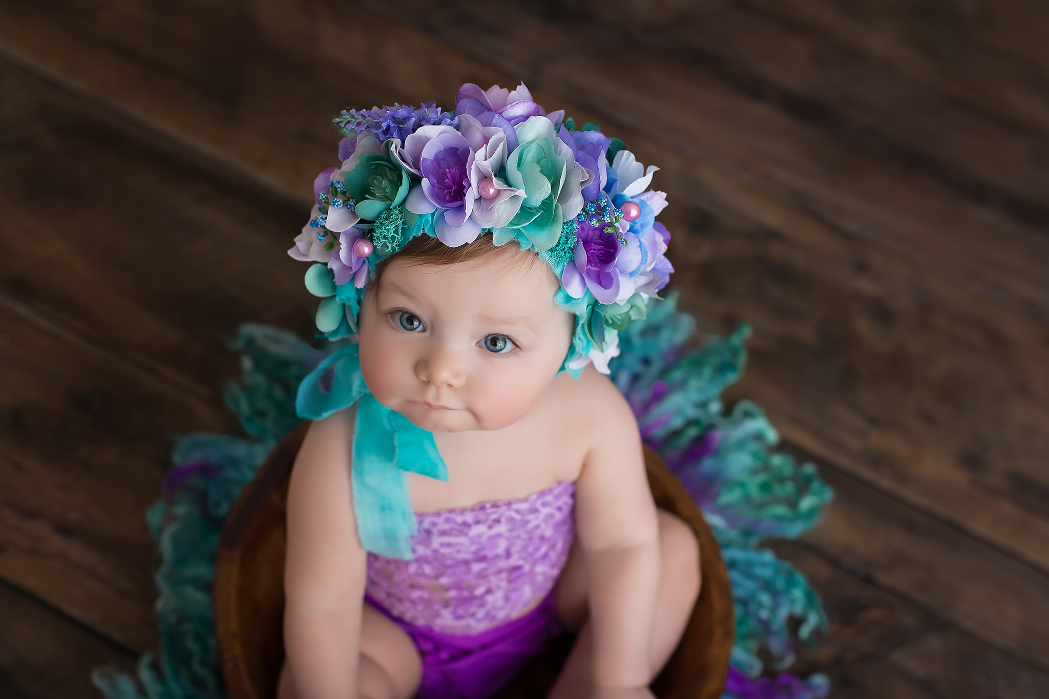 bay in aqua and purple bonnet