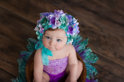 bay in aqua and purple bonnet