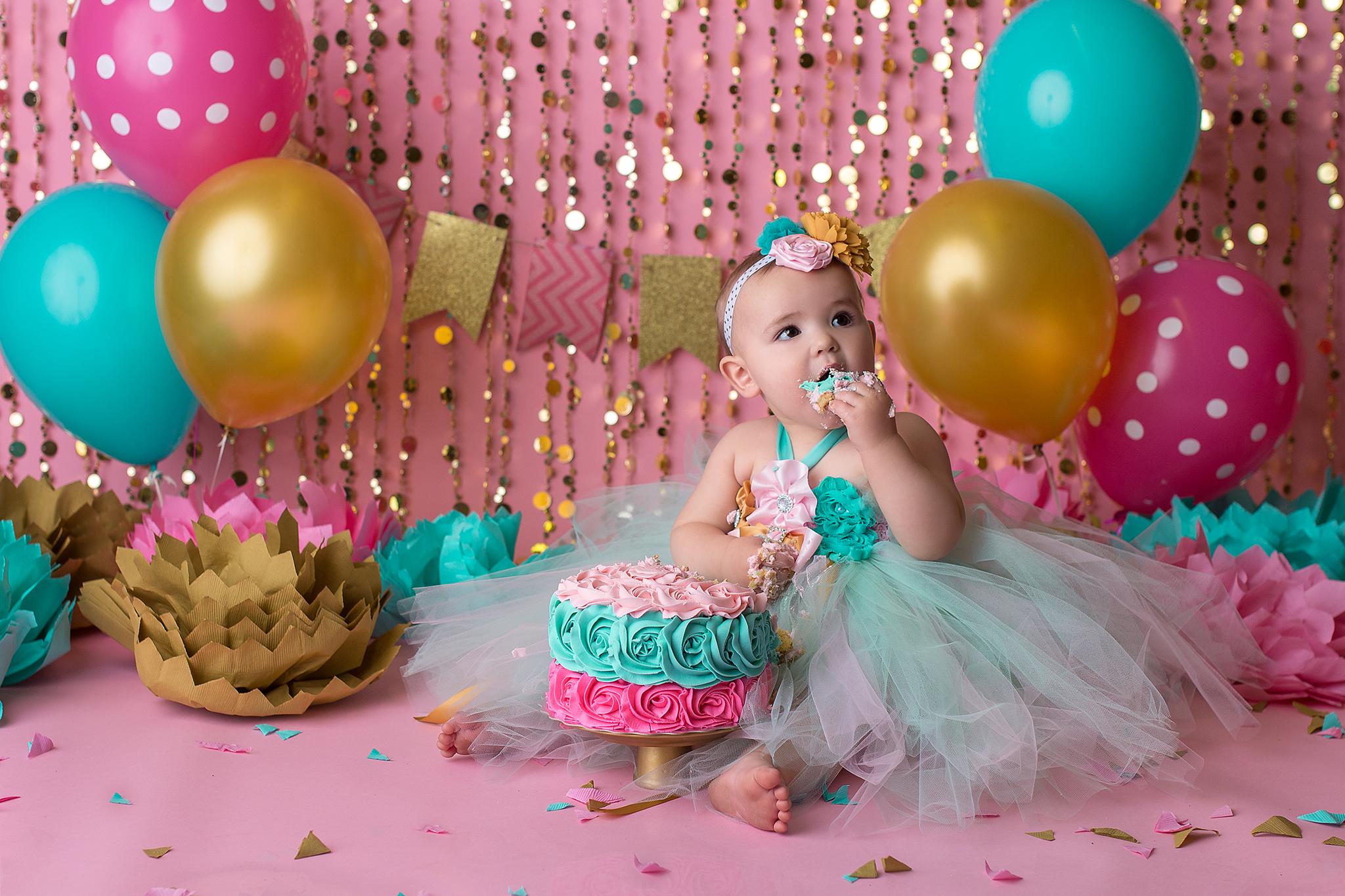 gold aqua and pink cake smash