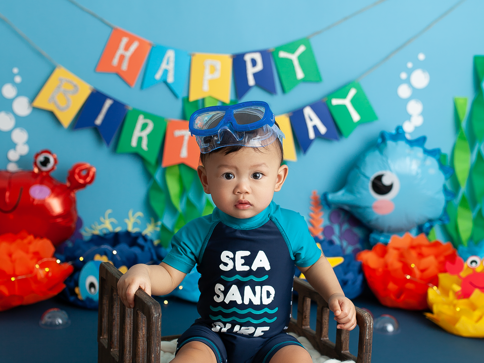 UNDER THE SEA CAKE SMASH SESSION | HAMILTON ONTARIO CAKE SMASH SESSION | PHOTOGRAPHER IN HAMILTON ON