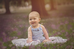 baby in flower field