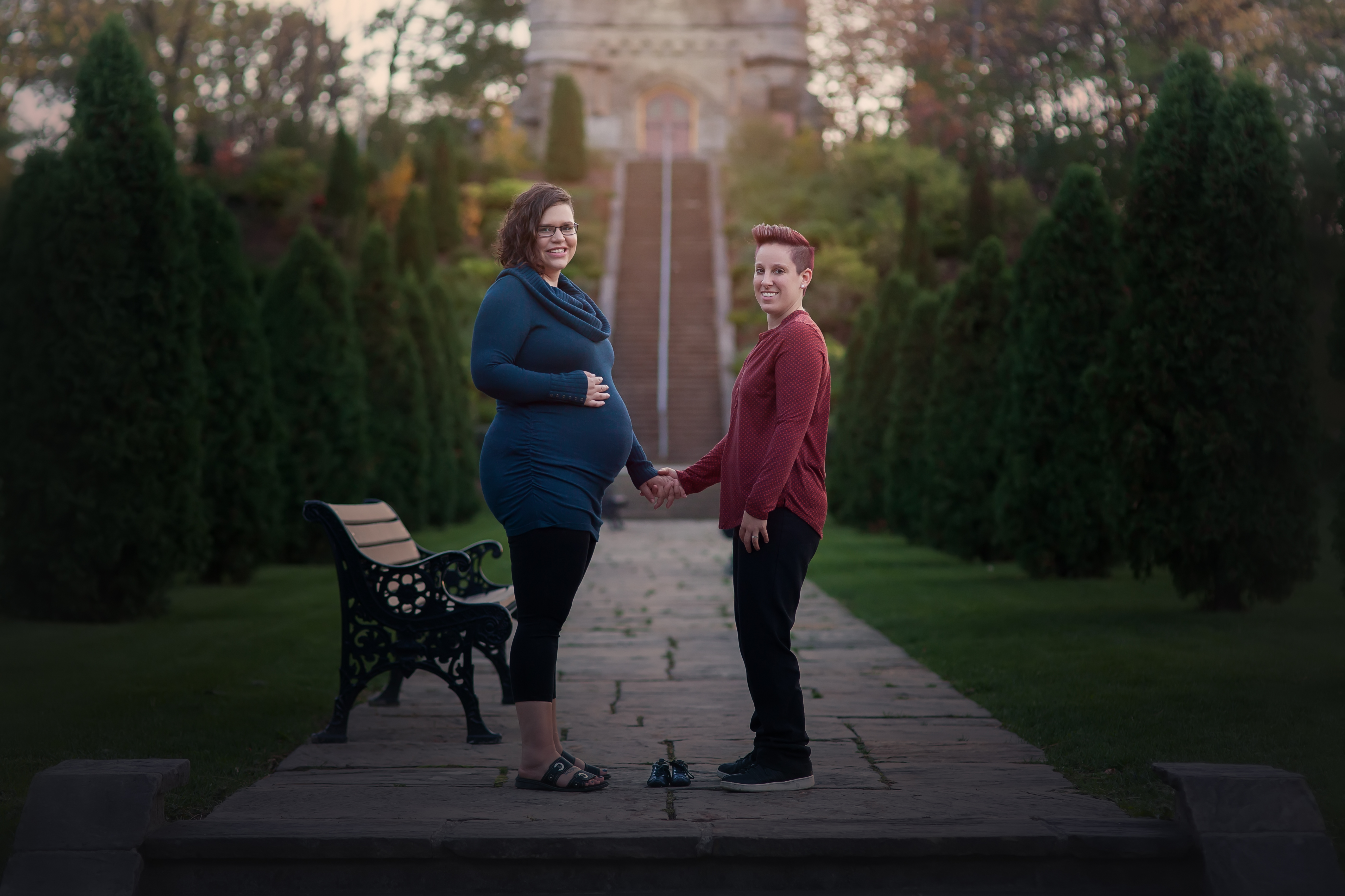 pregnant lesbian couple holding hand