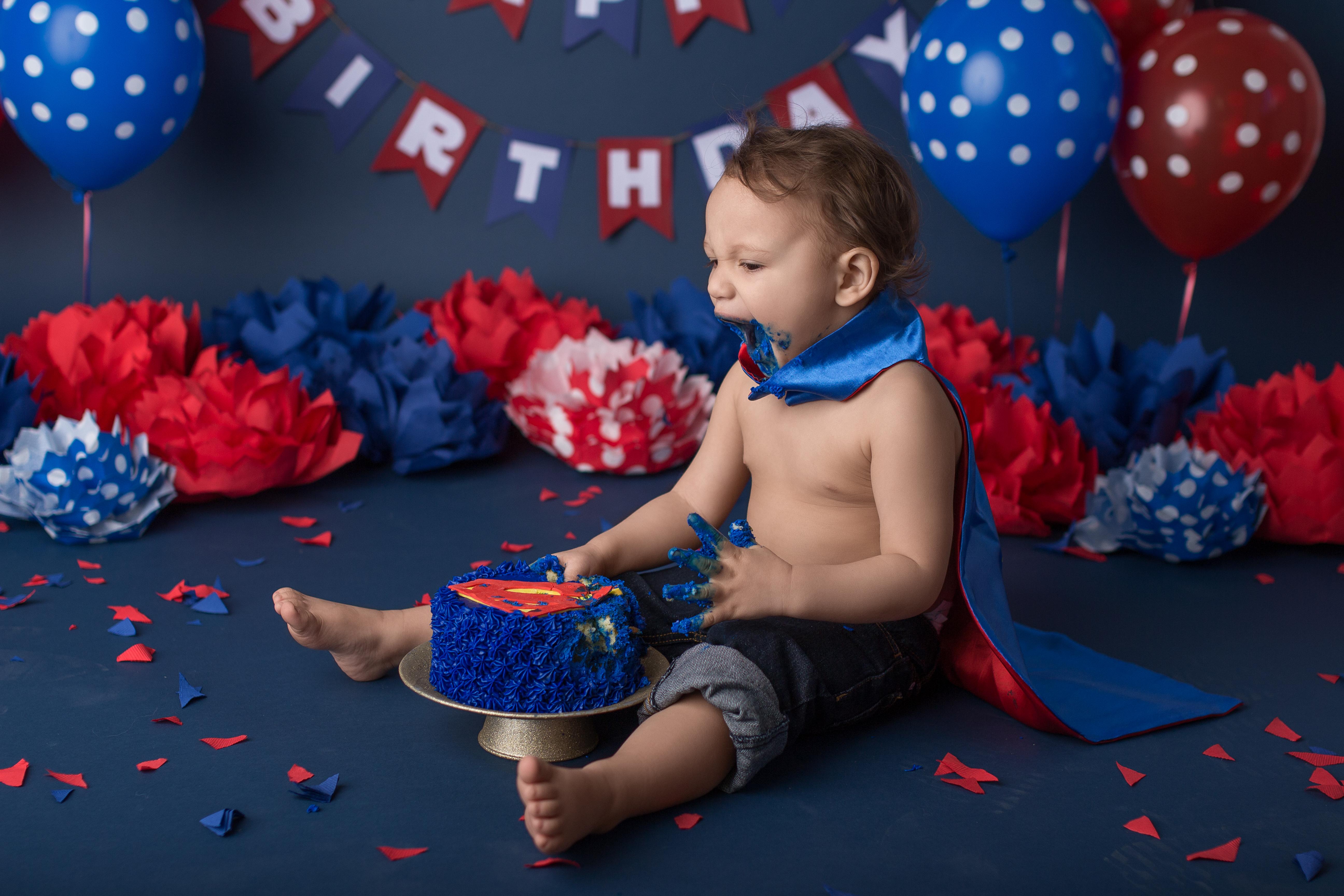 toddler sup man cake smash